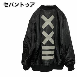 ●【美品】セバントゥア/ma-1/ボンバージャケット/バックロゴ/ブラック●(フライトジャケット)
