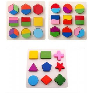 型はめパズル 3枚セット 知育 モンテッソーリ 木製 木のおもちゃ