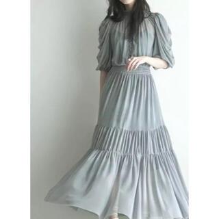 snidel - インポート スタンド襟パフスリーブプリーツドレス Mサイズ