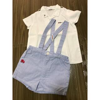 ファミリア(familiar)のファミリア シャツ+サスペンダーつきショートパンツ フォーマル 美品!(Tシャツ/カットソー)