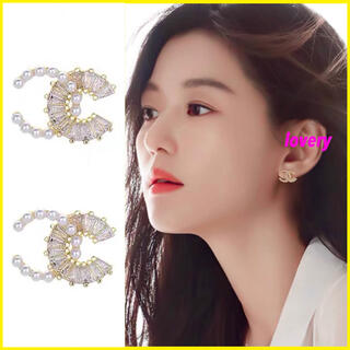 韓国でも大人気♡ CCデザインゴールドピアス パール ゴールドピアス 結婚式