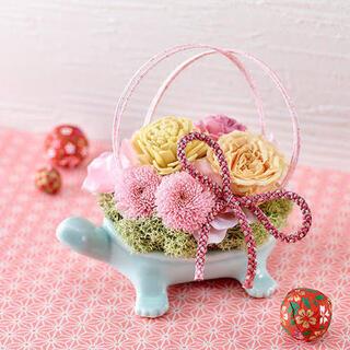 長寿亀 フラワーベース ピンク フラワーアレンジ 花瓶(その他)
