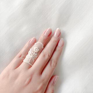 flower - ୨୧ Vintage rétro Beige Flower Lace Ring