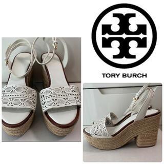 Tory Burch - トリーバーチ ホワイトレザー サンダル
