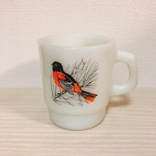 ファイヤーキング(Fire-King)のファイヤーキング マグカップ 鳥 オレンジ(グラス/カップ)