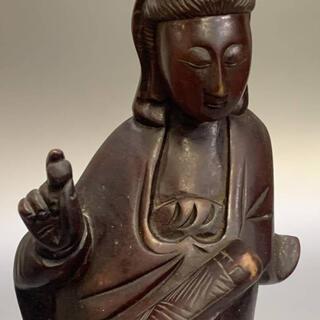 観音菩薩   仏教美術  木彫り    25cm(彫刻/オブジェ)