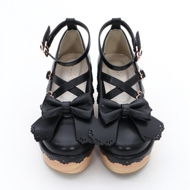 axes femme(アクシーズファム)のスカラップ木底風シューズ レディースの靴/シューズ(ハイヒール/パンプス)の商品写真