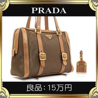 PRADA - 【真贋査定済・送料無料】プラダのショルダーバッグ・良品・正規品・カーキー系