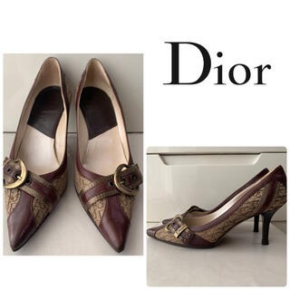 Dior - ディオール ブラウンレザー ロゴ パンプス