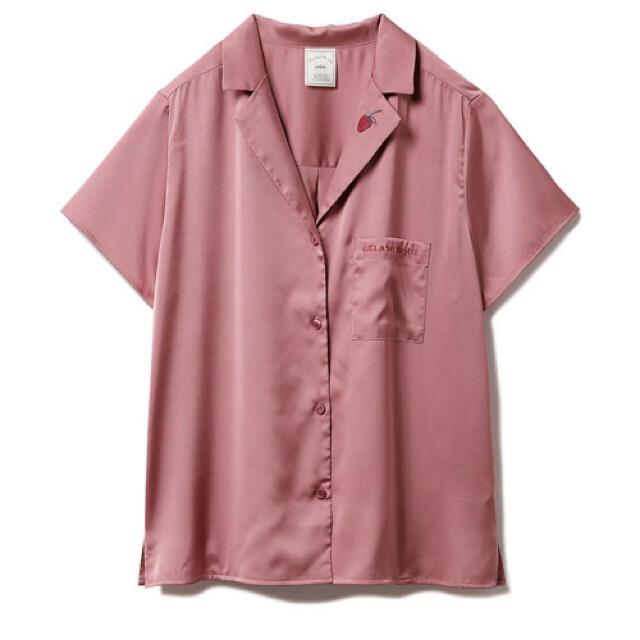 gelato pique(ジェラートピケ)のジェラピケ ジェラートピケ ストロベリー刺繍サテンシャツ レディースのルームウェア/パジャマ(ルームウェア)の商品写真