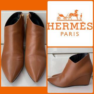 Hermes - エルメス ブラウンレザー ブーツ