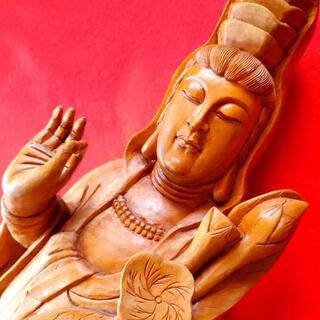 71cm  観世音菩薩像 仏教美術  木彫り   美品(彫刻/オブジェ)