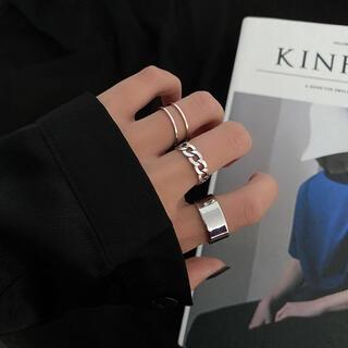 【No.128】シルバー 指輪 リング 3点セット 韓国 ファッション 結婚式(リング(指輪))