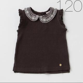 プティマイン(petit main)のプティマイン 新品 襟レースリブTシャツ 120(Tシャツ/カットソー)