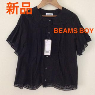 ビームスボーイ(BEAMS BOY)の新品 ビームスボーイ ヴィンテージレース ラウンドカラー シャツ ブラウス 黒(シャツ/ブラウス(半袖/袖なし))