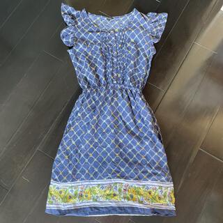 ロキシー(Roxy)のロキシー 半袖膝丈Aラインワンピース 青ブルー 花柄 ハイビスカス ひまわりM(ひざ丈ワンピース)