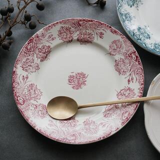 サンタマン カーネーション 平皿 フランス アンティークプレート 赤