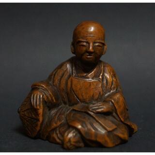 明治期 柘植製 提げ物 細工彫り『僧侶』緒締め玉 手彫 根付 在銘 / 装飾品(彫刻/オブジェ)