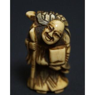 明治期 鹿角 提げ物 細工彫り『亀仙人』緒締め玉 手彫 根付 / 装飾品(彫刻/オブジェ)