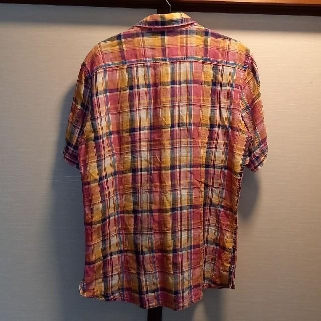 お値引vital monsieur NICOLE麻シャツ半袖チック48新品未使用 メンズのトップス(シャツ)の商品写真