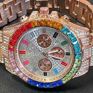 新品 ゴージャスウォッチ メンズ腕時計 ジルコニア レインボー ローズゴールド