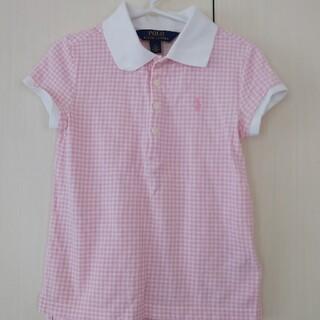 ラルフローレン(Ralph Lauren)のラルフローレン ポロ ポロシャツ シャツ 半袖 女の子 パフ ピンク ギンガム(Tシャツ/カットソー)