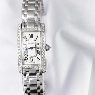 カルティエ(Cartier)の【仕上済】カルティエ タンクアメリカン SM WG ブレス ダイヤ 腕時計(腕時計)