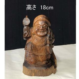 F005 木彫 大黒天 高さ18cm 肥松 大黒 七福神 仏教美術 彫刻 古美術(彫刻/オブジェ)