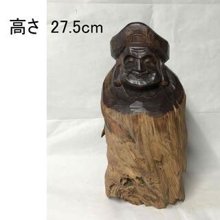 F006 木彫 大黒天 高さ27.5cm 肥松 大黒 七福神 仏教美術 彫刻 (彫刻/オブジェ)