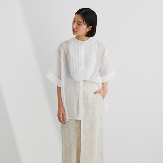 Ameri VINTAGE - 【1回着用、洗濯済】スタイルミキサー ピンタックシアーシャツ ホワイト F