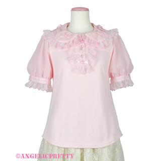 アンジェリックプリティー(Angelic Pretty)のangelic pretty ふわふわリボン半袖カットソー ピンク(カットソー(半袖/袖なし))