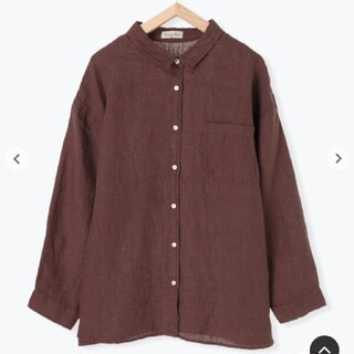 サマンサモスモス(SM2)のSamansa Mos2 リネンゆるシャツ ブラウン(シャツ/ブラウス(長袖/七分))