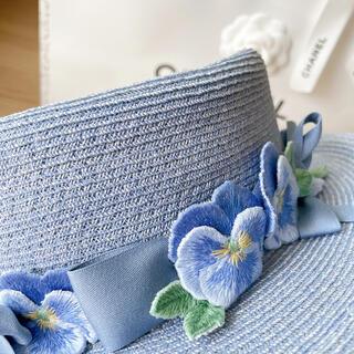 ジェーンマープル(JaneMarple)のJane Marple カンカン帽子 ブルー (麦わら帽子/ストローハット)