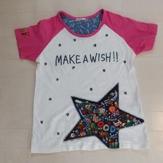 rough - rough レディースTシャツ 刺繍 白×ピンク