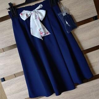 MISCH MASCH - 新品 ミッシュマッシュ スカーフベルト付 フレアスカート 紺 サイズM