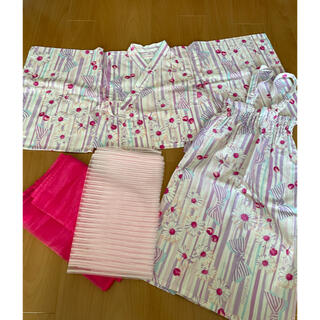 中古 メゾピアノ 2way 浴衣 110 リボン ガーベラ(甚平/浴衣)