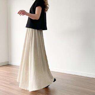 IENA SLOBE - JUNOAH ロングスカート ベージュ リネン混 マキシスカート 完売色