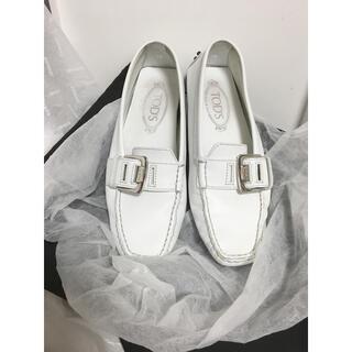 TOD'S - TOD'S トッズ 靴 ドライビングシューズ ホワイトレザー サイズ35.5