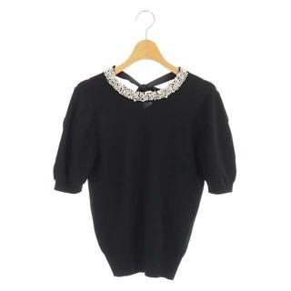 GRACE CONTINENTAL - グレースコンチネンタル カットソー 半袖 ビジュー装飾 リボン 36 黒