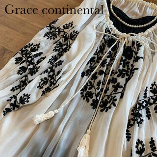 グレースコンチネンタル(GRACE CONTINENTAL)の【美品】Grace continental 刺繍トップス シフォン (シャツ/ブラウス(半袖/袖なし))