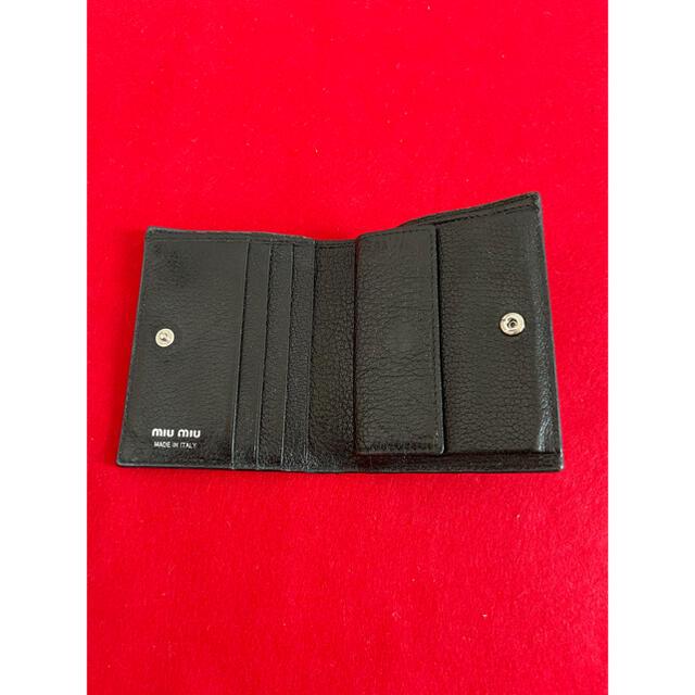 miumiu(ミュウミュウ)のMIU MIU ミュウ ミュウ 折財布 レザー 黒  レディースのファッション小物(財布)の商品写真