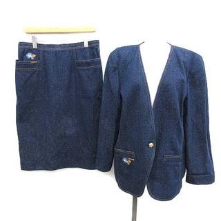 レオナール(LEONARD)のレオナール スーツ セットアップ 上下 ジャケット スカート 15AR 青(スーツ)
