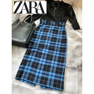 ZARA - 【ZARA】チェックタイトスカート ブルー青