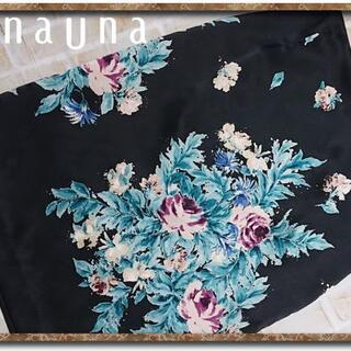 スーナウーナ(SunaUna)のスーナウーナ レース付き花柄スカート 黒(ひざ丈スカート)