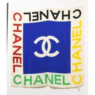 シャネル(CHANEL)のシャネルCHANEL♡ココマーク ロゴ大判スカーフ シルクストール マルチカラー(バンダナ/スカーフ)