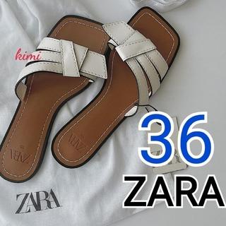 ZARA - ZARA (36 白) トップステッチフラットサンダル スクウェアトゥサンダル