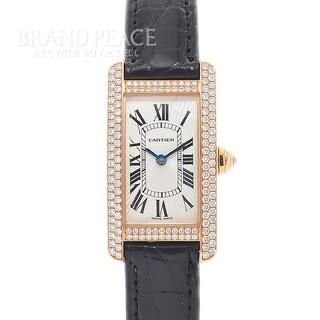 カルティエ(Cartier)のカルティエ タンクアメリカンSM レディース ダイヤベゼル K18PG クォーツ(腕時計)