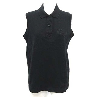 クリスチャンディオール(Christian Dior)のクリスチャンディオール ポロシャツ ノースリーブ ヴィンテージ M 黒 ブラック(ポロシャツ)