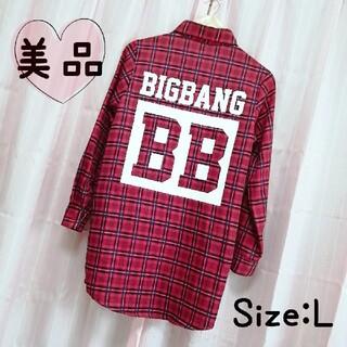 ビッグバン(BIGBANG)の【F171】美品 ビッグバン 公式グッズ ロング丈 チェックシャツ 赤 L(ミュージシャン)