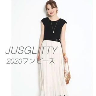 JUSGLITTY - JUSGLITTY 楊柳プリーツスカートドッキングニットワンピース